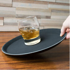 14 Inch Non Slip Serving Tray | Black Drinks Trays Waiters Round Tray Food Bar