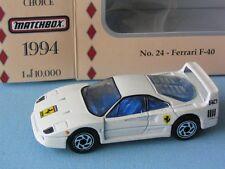 Matchbox Collectors Choice Ferrari F40 White USA Italian Sports Car Toy Model