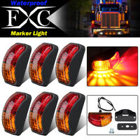 6X LED Clearance Lights Side Marker Lamp Amber Red Trailer Truck Caravan 12V-24V