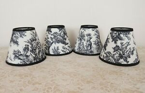 4 Clip-On Miniature Lamp Shades for Chandelier Candlestick Sconces Toile