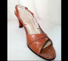 50s CUSTOM ITALIAN Slingback Heels 6.5AAAA Hand Made Snake Scalloped Design