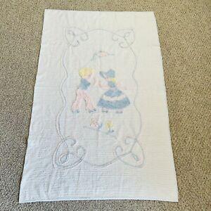 "Circa 1940s Vintage WHITE Cotton Chenille Coverlet 39 x 61"" Crib Baby Blanket"