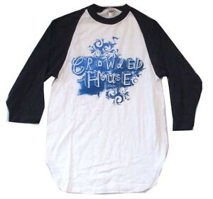 Crowded House Brush Logo White Blue Raglan Jersey Shirt New Official Band