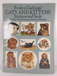 Cats And Kittens Stickers And Seals Evelyn Gathings Dover 1988 Rare 48 Stickers