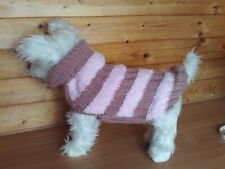"""HAND KNITTED PINKS  DOG COAT / JUMPER  16 """" LENGTH WESTIE TERRIER YORKIE"""