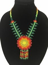 Huichol Beaded Peyote Flower Necklace Hand Crafted in Mexico NEVER WORN