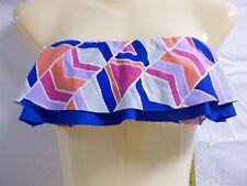 Gianni Bini Size M Medium Royal Geo Ruffle Bandeau New Womens Bikini Top Swim