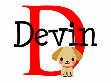 Personalized Puppy Dog Name Monogram Vinyl Wall Decal #1 Girls and Boys Room