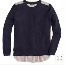 New! J CREW Small S Navy Blue Mixed Media Sweater