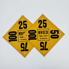 Set of Two Vintage New Ice Co. Yellow Cardboard Delivery Sign