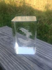 """Dolphin Paper Weight 3-1/8"""" TALL 3D LASER ETCHED - Solid Glass Crystal -"""