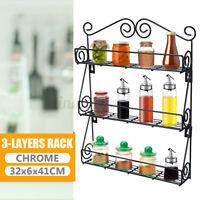 3 Tier Wall Mount Spice Rack Jar Bottle Holder Storage Shelf Kitchen Organizer