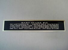 Bart Starr Packers Autograph Nameplate for a Football Helmet Display Case 1.5X8