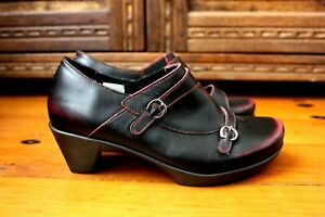 Naot Israel Burgundy Leather Ankle Boots Size 37 Cuban Low Cut New Clogs Buckle