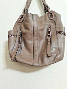 B Makowsky Large Taupe Leather Handbag bronze hardware