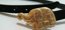 "Black Suede Leather 3/4"" Wide Belt with Goldtone Elephant Buckle 36"" Long Sz L"
