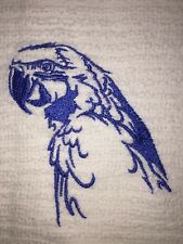 Embroidered Kitchen Bar Hand Towel Macaw Silhouette in blue BS0924 BIRDS