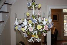 Vintage Signed Italy 6 Light Chandelier Capodimonte Floral Ceiling Lamp Tole