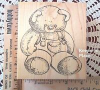 Sir Stamp-A-Lot Large Teddy Bear Blue Jeans Mounted Rubber Stamp Brand New #117