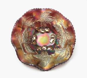ANTIQUE DUGAN CHERRIES CARNIVAL GLASS BOWL AMETHYST PURPLE 6 INCH
