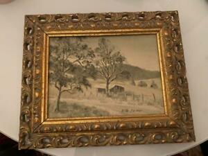 LOVELY OIL ON BOARD IN GOLD CARVED FRAME. 'MUDGEE FARM ROAD' BY KEITH SALWAY