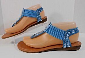 Pierre Dumas Austin Womens Flip Flops Flats 7 M Strappy Rhinestone Turquoise