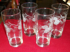 New listing Set of 4 Etched Pinecones Pine Cone Tall Drinking Glasses, Christmas or Cabin