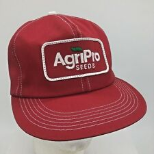 Vtg AgriPro Seeds Red Sewn Patch K Products Made in USA Snapback Hat Cap Farming