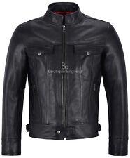 TRUCKER Men's Real Leather Jackets Black Biker Classic Cowhide Motorcycle Style
