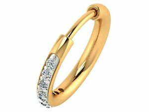 Real 14k Yellow Gold & White Gold Real Diamond Hoop Nose Ring For Woman Jewelry