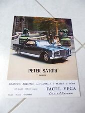 Facel Vega Excellence USA Market 1960 catalogue brochure prospectus réédition