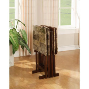 Tray Table Set Faux Marble in Brown