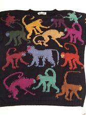Worlds Apart Sweater Large L Women Black Colorful Monkey Knit  3/4 Sleeve
