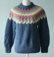 Handknit Fair Isle Wool Vintage Danspin Women's Sweater 80s Denmark Size Medium