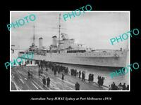 OLD LARGE HISTORIC AUSTRALIAN NAVY PHOTO OF THE HMAS SYDNEY SHIP c1936