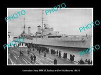 OLD LARGE HISTORIC AUSTRALIAN NAVY PHOTO OF THE HMAS SYDNEY SHIP c1936