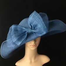Denim Blue Kentucky Derby Hat with Sinamay Bow Wide Brim Dress Tea party Beach