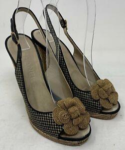 Authentic CHANEL Camellia Coco Mark Matelasse Sandals Heels #37.5 US 7 Black