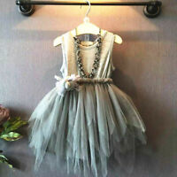 Kids Baby Girls Princess Sleeveless Lace Dress Wedding Party Flower Tutu Dresses
