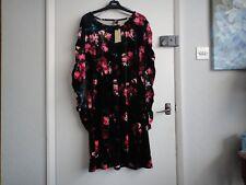 CAPSULE DRESS BLACK/PINK FLORAL VELVETEEN BNWT SIZE 22