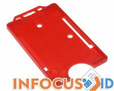 100 x Red Open Faced Rigid Card Holders (Portrait) For ID Cards and Badges