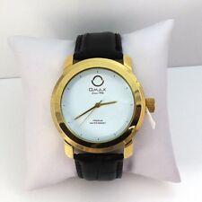 Omax S001 Gold Tone Black Leather Band Man's Watch QXC8