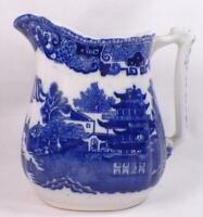Wedgwood Willow Milk Pitcher Large Creamer Semi Porcelain Blue White Vintage