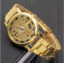 Luxury Men's Hollow Skeleton Quartz Mechanicall Stainless Steel Wrist Watch-Gold