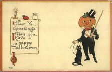 Halloween JOL Man in Tuxedo c1915 Postcard gsh