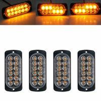 2/4x Amber 12LED 36W Car Truck Strobe Flash Emergency Warning Light Lamp 12-24V