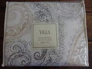 Noble Excellence VILLA RENATA TAN Gray PAISLEY Full QUEEN DUVET Sham Set 3PC