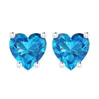 2 ct. Swiss Blue Topaz Heart Stud Earrings in Solid Sterling Silver