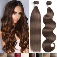 Brazilian 100% Virgin Human Hair THICK Extensions 3Bundles/300G Brown Weave Wavy