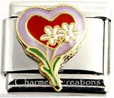 Double Heart With Daisy Flowers Love 9mm Italian Charm Stainless Modular Link
